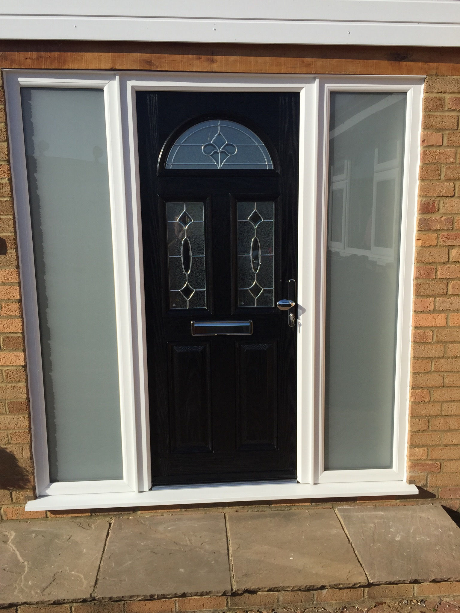 Black Composite Door With Satin Glass Side Panels Neil Amos Windows