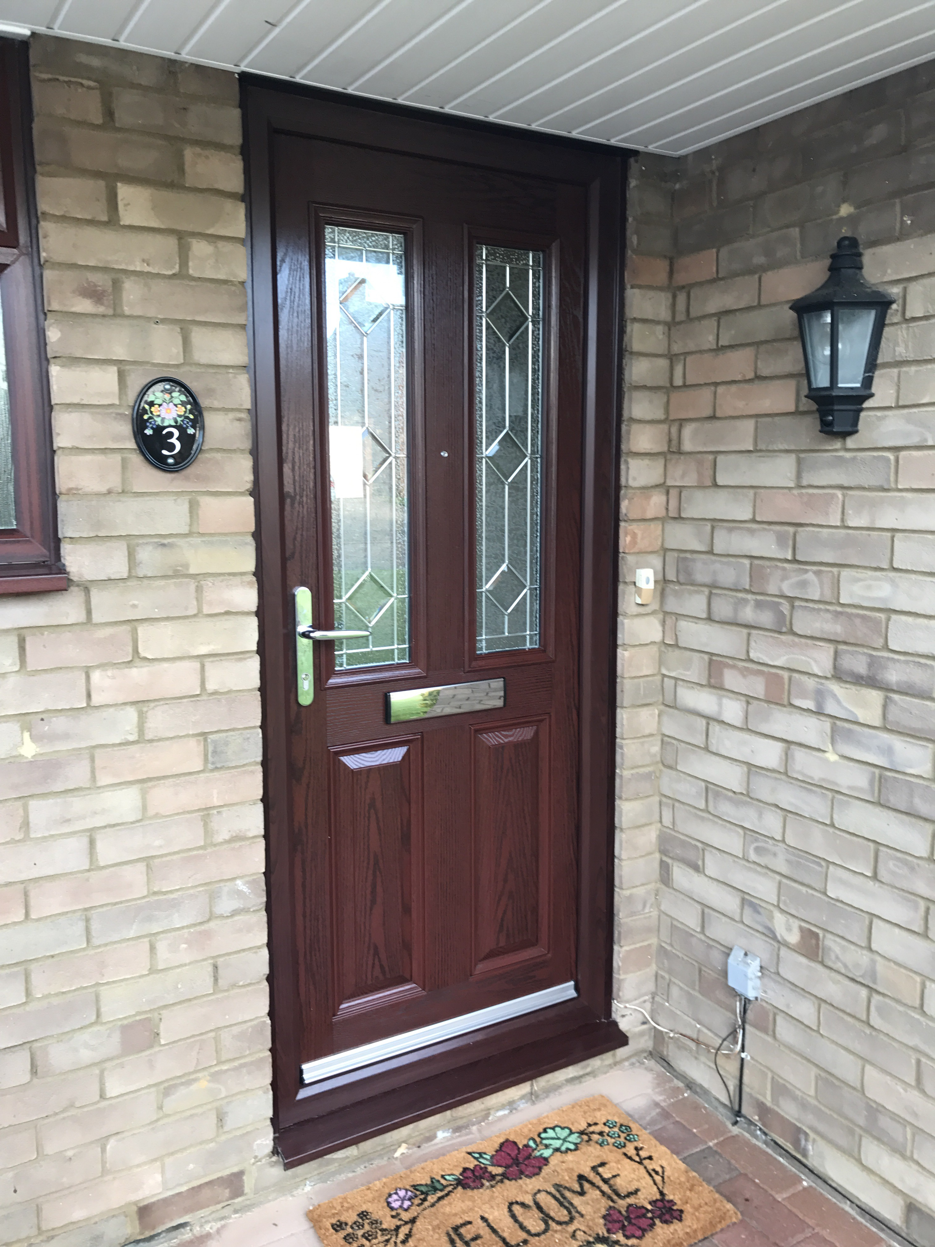 Rosewood Composite Door with triple glazed beveled glass & Rosewood Composite Door | Neil Amos Windows