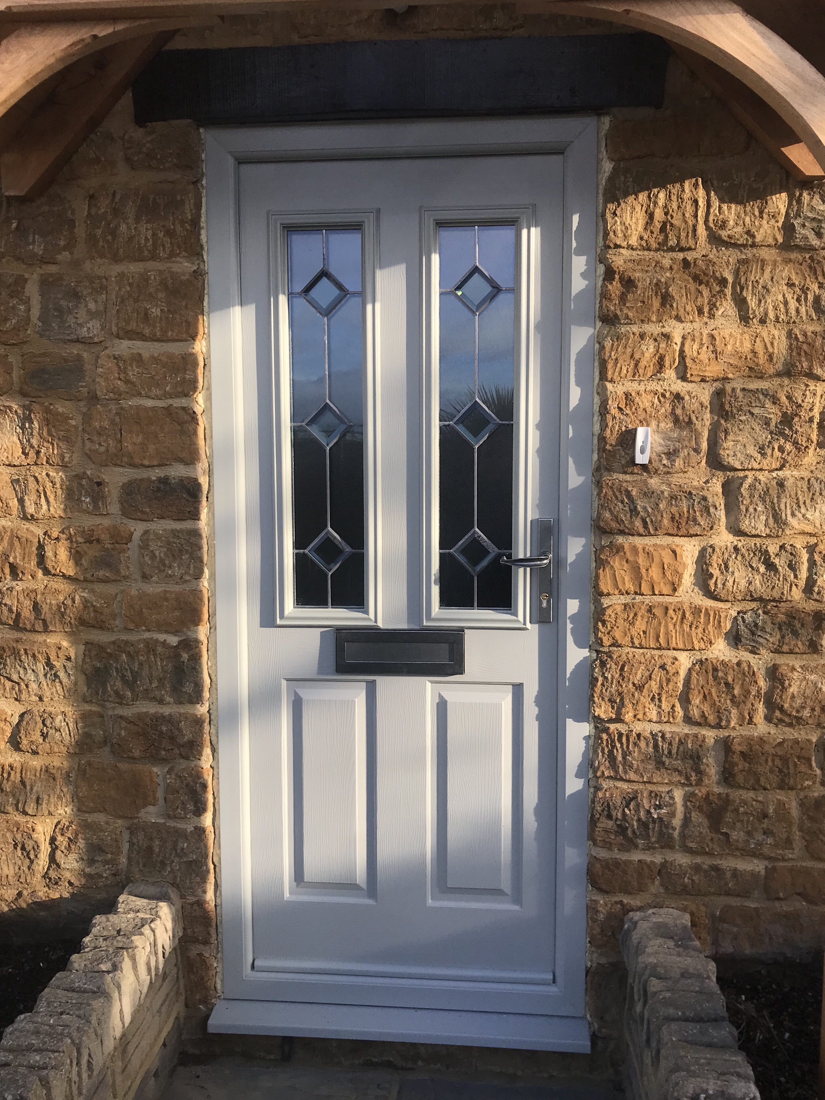 Agate Grey Composite Doors with Beveled Glass & Agate Grey Composite Doors | Neil Amos Windows